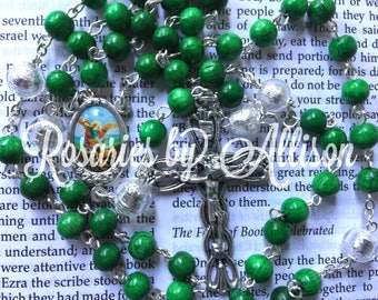 Green wooden bead and Silver Foil Czech glass bead rosary with silver plated color St. Michael center and crucifix