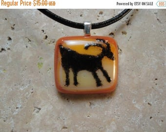 Christmas in July Sale Petroglyph Pendant -Fused Glass - BHS01287
