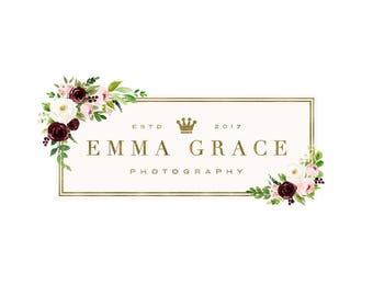 Premade Photography Logo and Watermark,  Floral Frame Logo Design, Gold Floral Logo 426