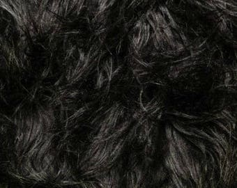 Fun Gorilla Solid Long Pile Faux Fur 58 Inch Black Fabric by the Yard, 1 yard