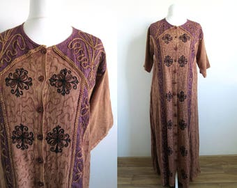 90's Indian Boho Maxi Sundress, Long Cord Embroidered Button-Up Dress, Short Sleeve Summer Gown, Brown & Purple Rayon, Plus Size Large L/XL