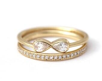 ON SALE Diamond Infinity Ring with Diamond Eternity Ring, Infinity Ring Set, Infinity Engagement Ring, Eternity Wedding Band Set