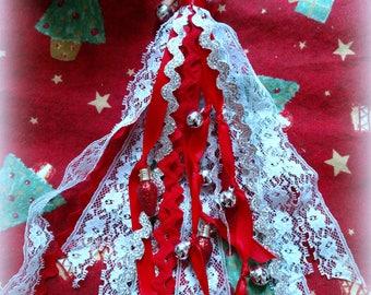 Christmas, Winter, Planner Tassel, Tassel, Red, Baby Blue, Silver, Jingle Bells, Red Christmas Light Charm, Lace, Rick Rack, Journal Tassel