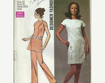 ON SALE Misses 1970's Designer Fashion Dress or Tunic and Pants Pattern, Simplicity 8679, Size 12 UNCUT