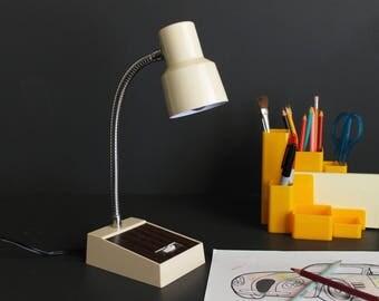 Vintage Flexible Goose Neck Desk Lamp Cream and Woodgrain