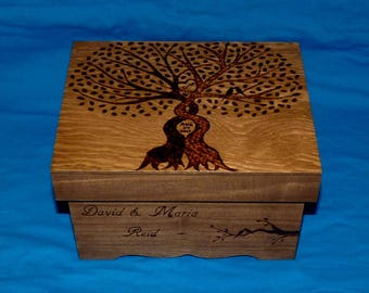 Rustic Wedding Box Infinity Wedding Tree Card Box Wood Burned Keepsake Memory Box Love Bird Hummingbird Wedding Decor Bridal Shower Gift