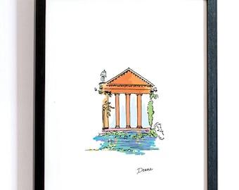 Summertime Italian Temple -- DIGITAL DOWNLOAD, Digital Watercolor Print, Color Illustration, Peaceful Print, Water Art, Ivy, Architecture