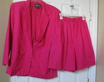 Adolfo International Linen & Cotton Blend Pink Suit, Blazer/Shorts set Sz-10 Gaucho's, Culotte's