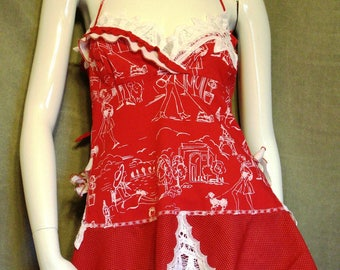 Red halter top Bohemian chic upcycled clothes Summer open back top Battenburg lace altered clothing Sexy tunic Boho romantic artsy top S