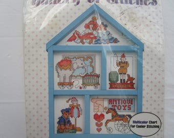 "Bucilla Gallery of Stitches Kit #33458 ""Antique Toys"" Cross Stitch Hutch"