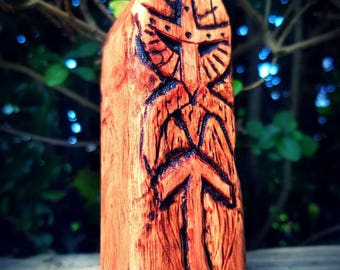 Tyr Norse God wood carving, altar figurine.