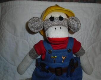 Builder/Constuction Worker Sock Monkey Doll