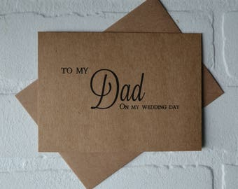 To my DAD WEDDING DAY card thank you parents card kraft father thank you card parent wedding cards on my wedding day daddy thank you cards