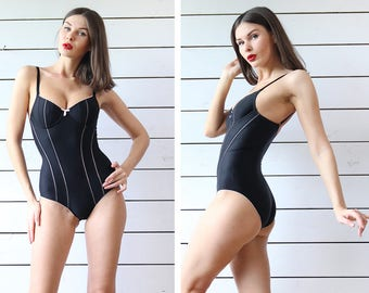 WOLFORD vintage black tight fitted body shaper bodysuit leotard S cup B