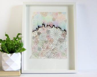 Flower Garden Landscape Art - Colorful Ink Drawing - 13x17 Framed Original Art - White Home Decor - Ink Chromatograph - Modern Abstract Art