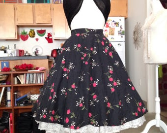 Rose print novelty full skirt medium