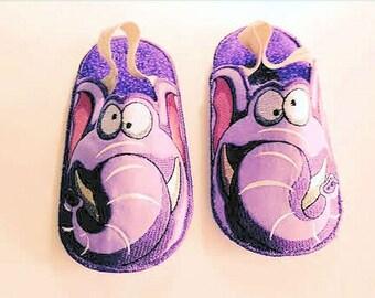 Elephant Bedroom Slippers, Kids Bedroom Slippers, Elephant Slippers, Embroidered Slippers, Made to Order