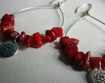Coral Lotus Flowr Drop Earrings