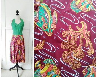 20% OFF / Under the Sea 1950s Green/Burgundy/Orange/Yellow/White Fish/Sea Life Novelty Print/Halter Dress