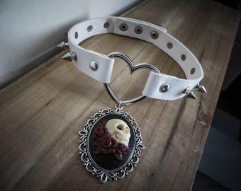 Peaks leather bib necklace silver goth punk calavera dia los muertos ♠Gothika♠