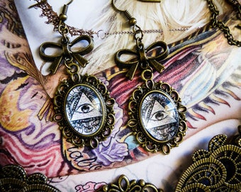 Earrings cameo calavera dia los muertos mexican gypsy Bohemian ♠ All Seeing Eye ♠