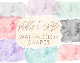 SALE }} Soft Pretty Watercolor Forms and Shapes - Watercolor Backgrounds - Watercolor Shape ClipArt- by Indie Grace Design