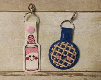 BFF Whipped Cream and Pie Keychains - Best Friends Keychain Set - Friendship Keychain - BFF Gift - Whipped Cream Zipper Pull