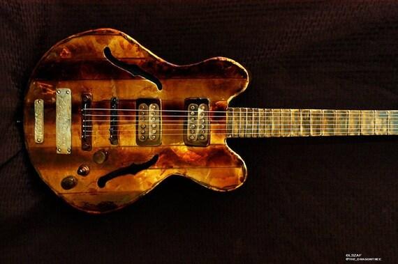 Custom guitar, custom replica, metal replica, guitar replica, actual size, hollow body, custom metal work, weld art, custom 3d, wall mount
