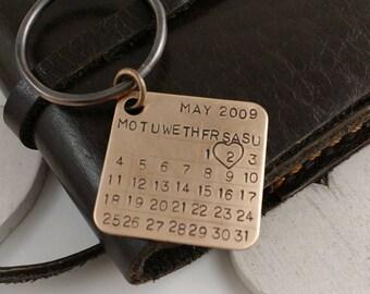 Bronze gift, 8th anniversary, 19th anniversary, 22nd anniversary, Bronze anniversary gift for him, bronze, Bronze Key Chain Calendar charm