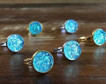 Mint Druzy ring / galaxy ring / crystal boho ring