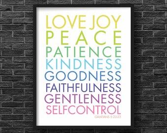 Galatians 5:22-23, Bible verse Rainbow Print