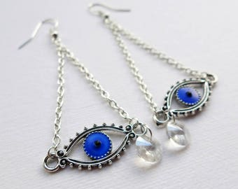All-Seeing Eye Talisman Earrings, evil eye amulet dangle earrings, Daliesque teardrop and eye earrings