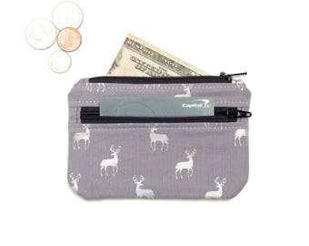 Coin Purse Wallet - id holder - small wallet - Cute coin purse - 2 Zipper Change Purse Pouch - card wallet -