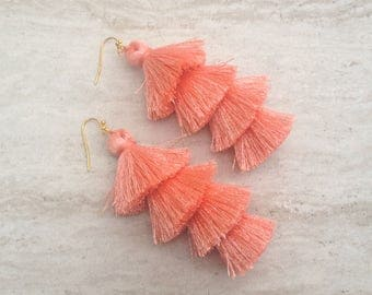 "Cha Cha Tiered Silk Tassel Earrings, Stacked Tassle Earrings, Fringe Tassel Earrings, Summer Earrings, Colorful, Trendy,Lightweight 3"" Drop"