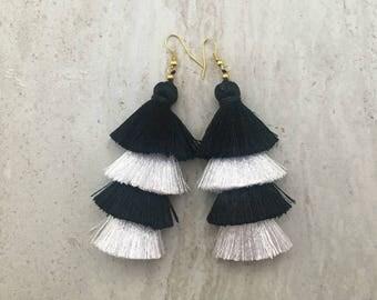 Black & White Tassel Stack Earrings Layered Silk Tassel Earrings