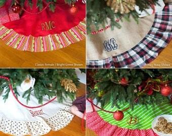 Christmas Tree Skirt, Monogrammed Christmas Tree Skirt, Personalized Christmas Tree Skirt, Christmas Decor, Holiday Decor