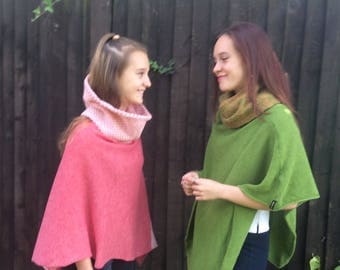 Wool Poncho for Teens, Warm and soft cape coat for girl. Gift for granddaughter. Stocking stuffer for girls.