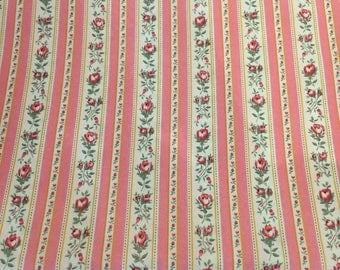 Quilting Cotton, Rose Bud Ticking Stripe Fabric, Robin Mynatt for Paris Bebe Fabrics