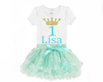 Blue Aqua Mint, Gold,  Tutu Skirt and White Shirt with Gold Crown Age and Name