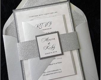 Glitter Wedding Invitation, Silver Glitter Wedding  Invitation,  Elegant Wedding Invitation, Silver Wedding Invitation, Wedding Invitation