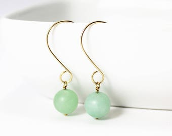 Light Green Amazonite and 14K Gold Filled Earrings / Natural Stone Jewelry / Gold Earrings / Gifts under 25