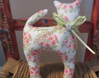Cat Doll, Pink Petite Rose Fabric Cat, Pillow Tuck, Cottage Chic Cat, Cat Shape Pillow, Shelf Sitter, Stuffed Cat