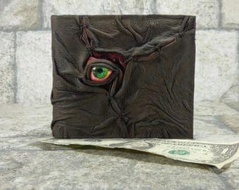 Zombie Monster Face Evil Dead Necronomicon Leather Wallet Goth Black Brown Horror Gamer Fantasy Fathers Day Gift