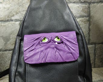 Leather Backpack Purse With Face Monster Harry Potter Labyrinth Goth Purple Black 386