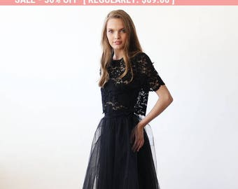 Black lace short sleeves top , Lace black sheer top 2037