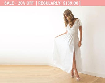 Ivory wrap dress with lace sleeves, Wedding simple gown with slit, Short sleeves lace dress 1052