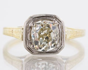 Antique Engagement Ring - Antique 14k Two-Tone Mine Cut Diamond Engagement Ring