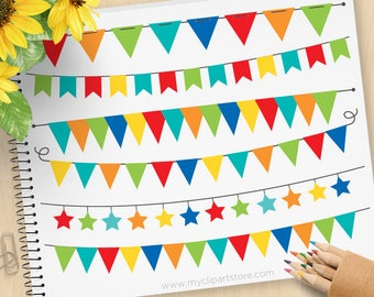 Primary Colored Bunting, Birthday Party, Banner Flags, Stars, garland, Commercial Use, Vector clip art, SVG Cut Files