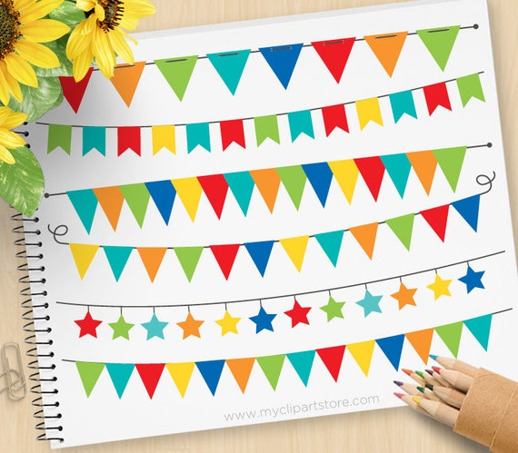 Primary Colored Bunting, Birthday Party, Banner Flags
