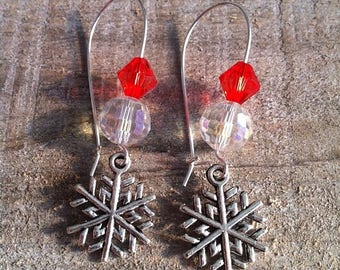 Snowflakes earrings large silvery red 3 clasps